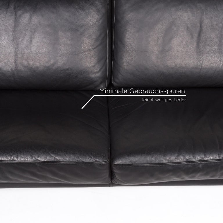 Willi Schillig Leather Sofa Black Three-Seat Couch In Good Condition In Cologne, DE