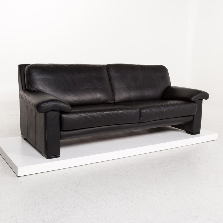 Willi Schillig Leather Sofa Black Three-Seat Couch 2