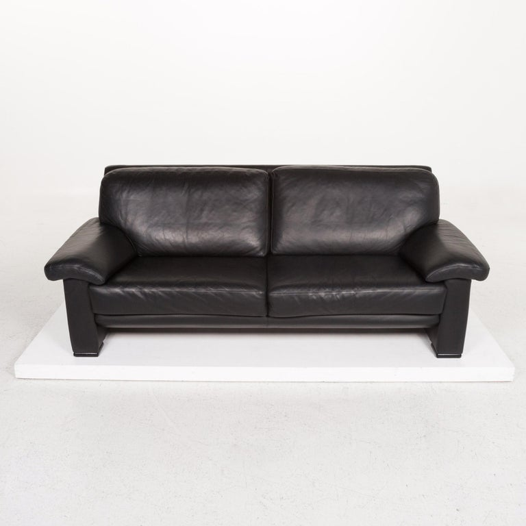Willi Schillig Leather Sofa Black Three-Seat Couch 3