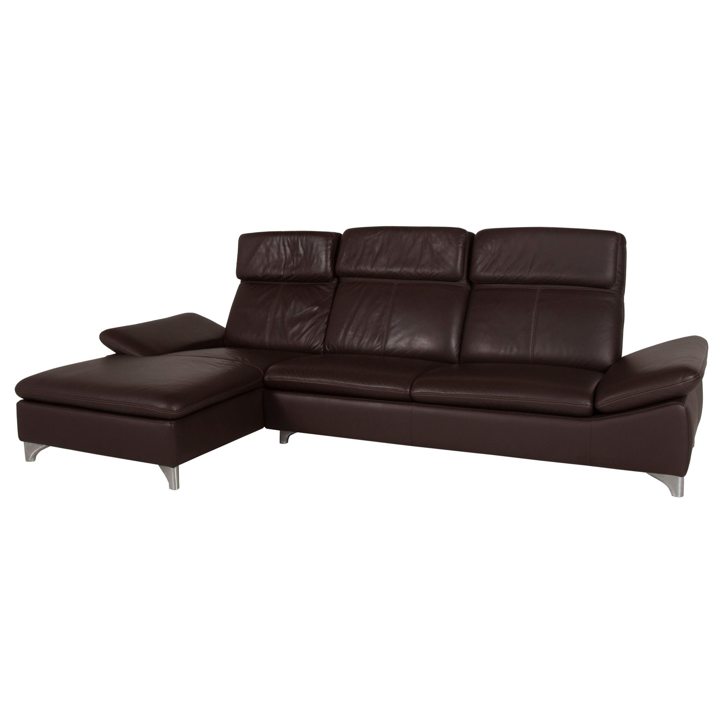 Willi Schillig Leather Sofa Brown Corner Sofa Dark Brown