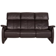 Willi Schillig Leather Sofa Brown Dark Brown Three-Seater Couch