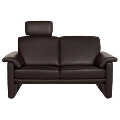 Willi Schillig Leather Sofa Brown Dark Brown Two-Seat Couch