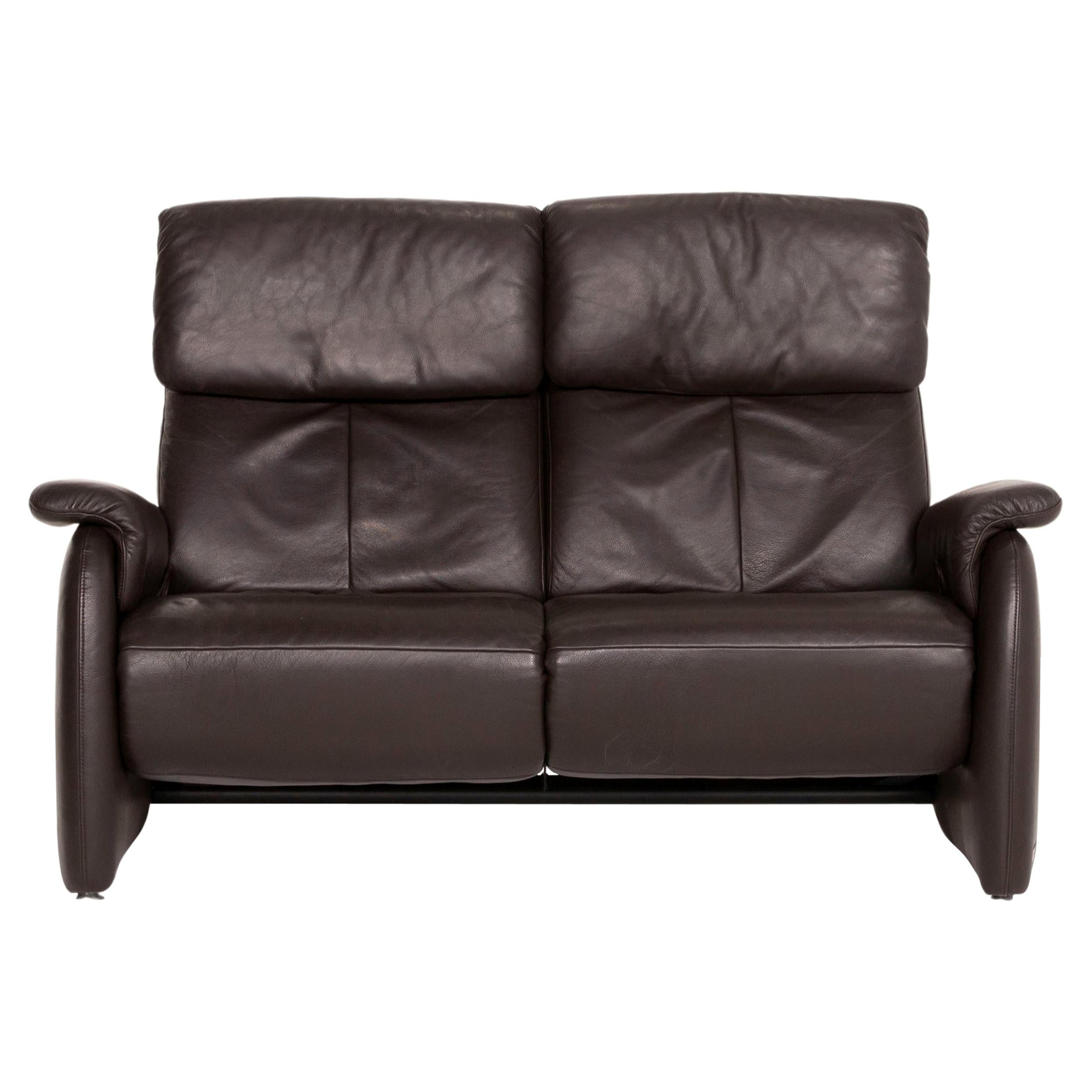 Willi Schillig Leather Sofa Brown Dark Brown Two-Seater Function Relax Function