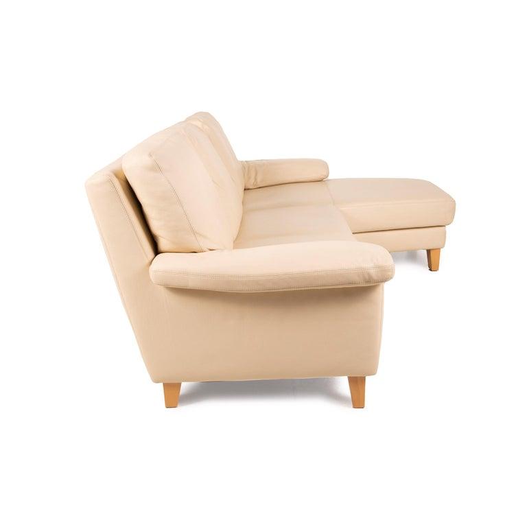 Willi Schillig Leather Sofa Cream Corner Sofa Couch For Sale 4