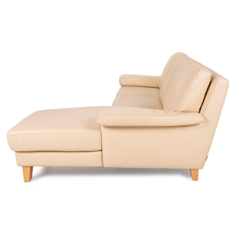 Willi Schillig Leather Sofa Cream Corner Sofa Couch For Sale 6