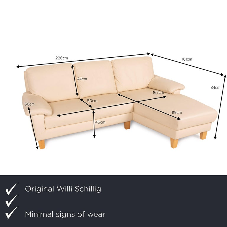 We present to you a Willi Schillig leather sofa cream corner sofa couch.     Product measurements in centimeters:    Depth: 95 Width: 161 Height: 84 Seat height: 45 Rest height: 56 Seat depth: 50 Seat width: 167 Back height: 44.