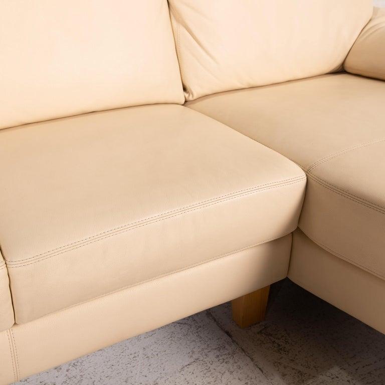 Modern Willi Schillig Leather Sofa Cream Corner Sofa Couch For Sale