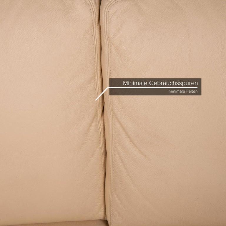 German Willi Schillig Leather Sofa Cream Corner Sofa Couch For Sale