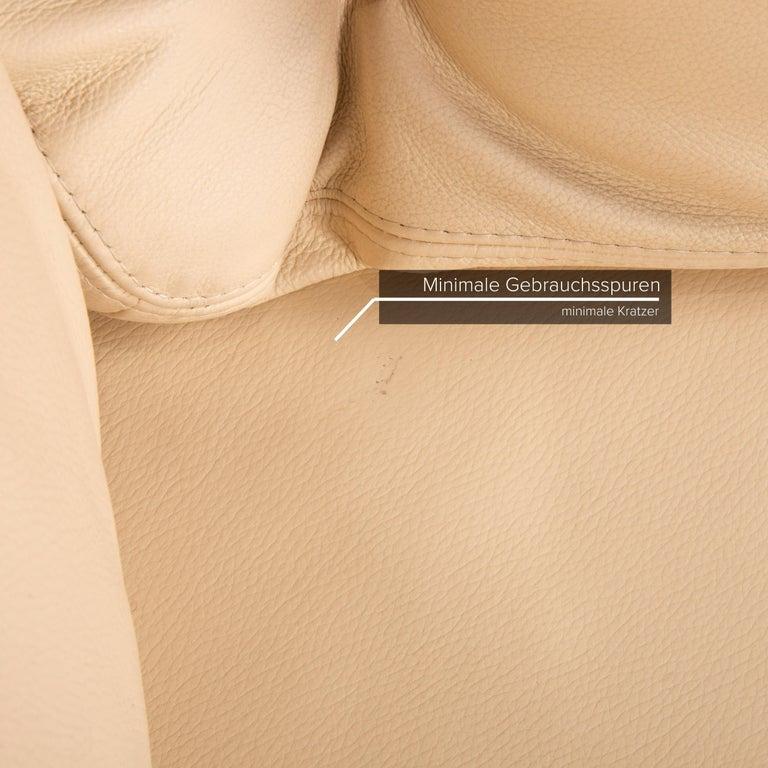 Willi Schillig Leather Sofa Cream Corner Sofa Couch In Good Condition For Sale In Cologne, DE
