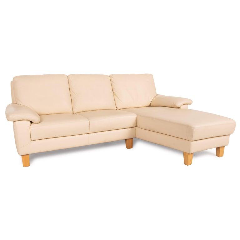 Willi Schillig Leather Sofa Cream Corner Sofa Couch For Sale 2