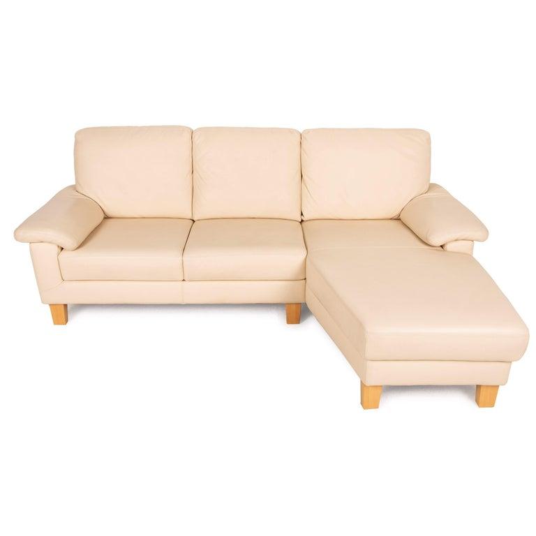 Willi Schillig Leather Sofa Cream Corner Sofa Couch For Sale 3