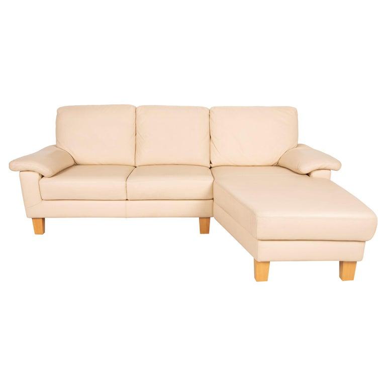 Willi Schillig Leather Sofa Cream Corner Sofa Couch For Sale