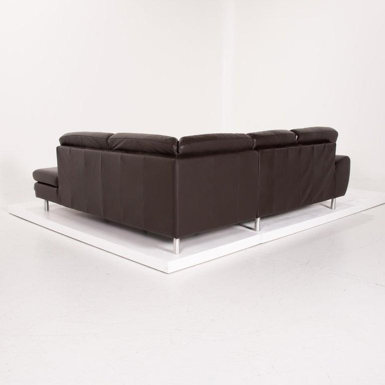 Willi Schillig Leather Sofa Dark Brown Corner Sofa 4