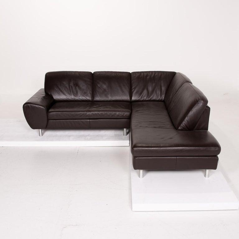 Willi Schillig Leather Sofa Dark Brown Corner Sofa 5