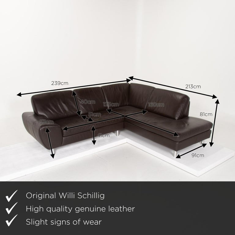 We present to you a Willi Schillig leather sofa dark brown corner sofa.       Product measurements in centimeters:    Depth 91 Width 239 Height 81 Seat height 41 Rest height 53 Seat depth 51 Seat width 168 Back height 40.