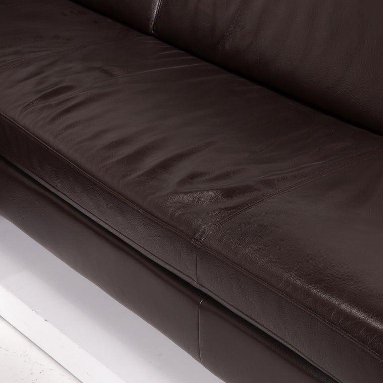 Modern Willi Schillig Leather Sofa Dark Brown Corner Sofa