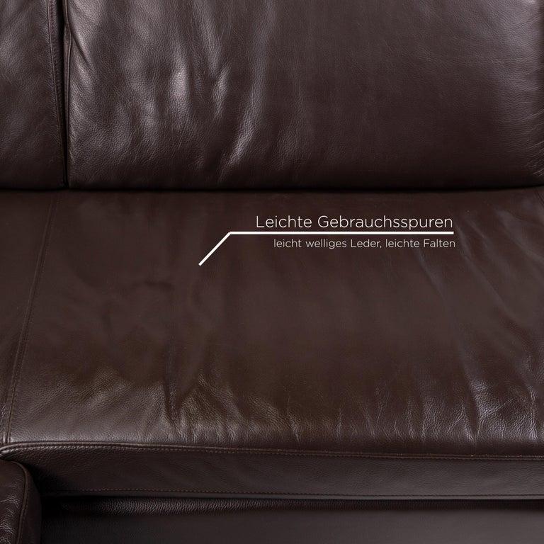 German Willi Schillig Leather Sofa Dark Brown Corner Sofa