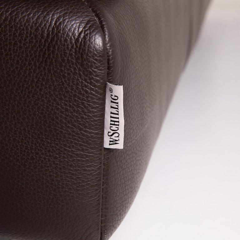 Contemporary Willi Schillig Leather Sofa Dark Brown Corner Sofa