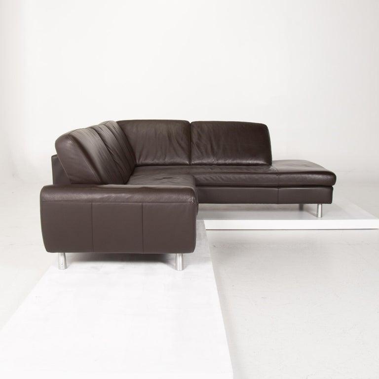 Willi Schillig Leather Sofa Dark Brown Corner Sofa 1