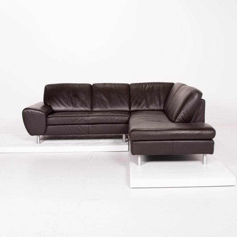Willi Schillig Leather Sofa Dark Brown Corner Sofa 2