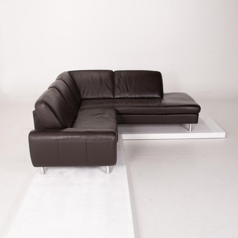 Willi Schillig Leather Sofa Dark Brown Corner Sofa 3
