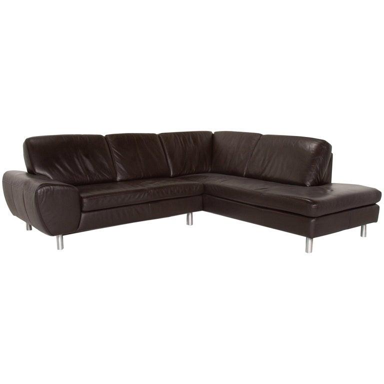 Willi Schillig Leather Sofa Dark Brown Corner Sofa