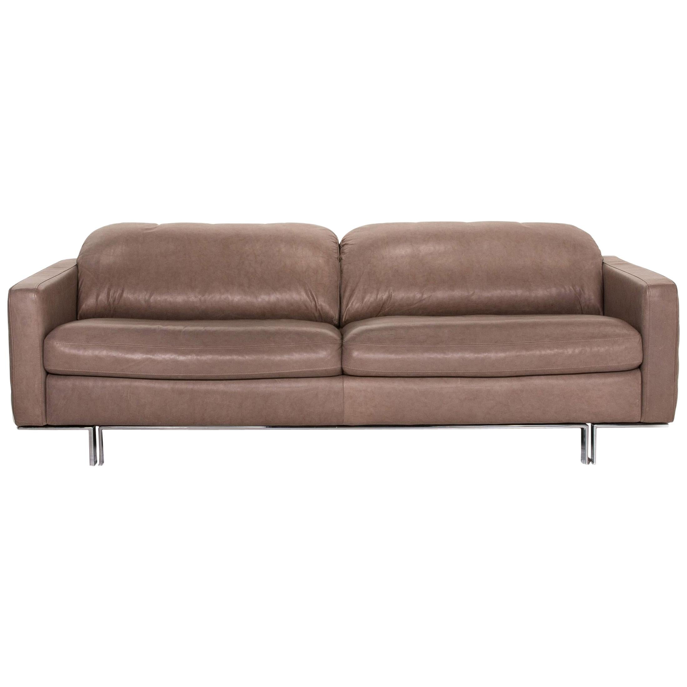 Willi Schillig Leather Sofa Gray Beige Three-Seat Couch