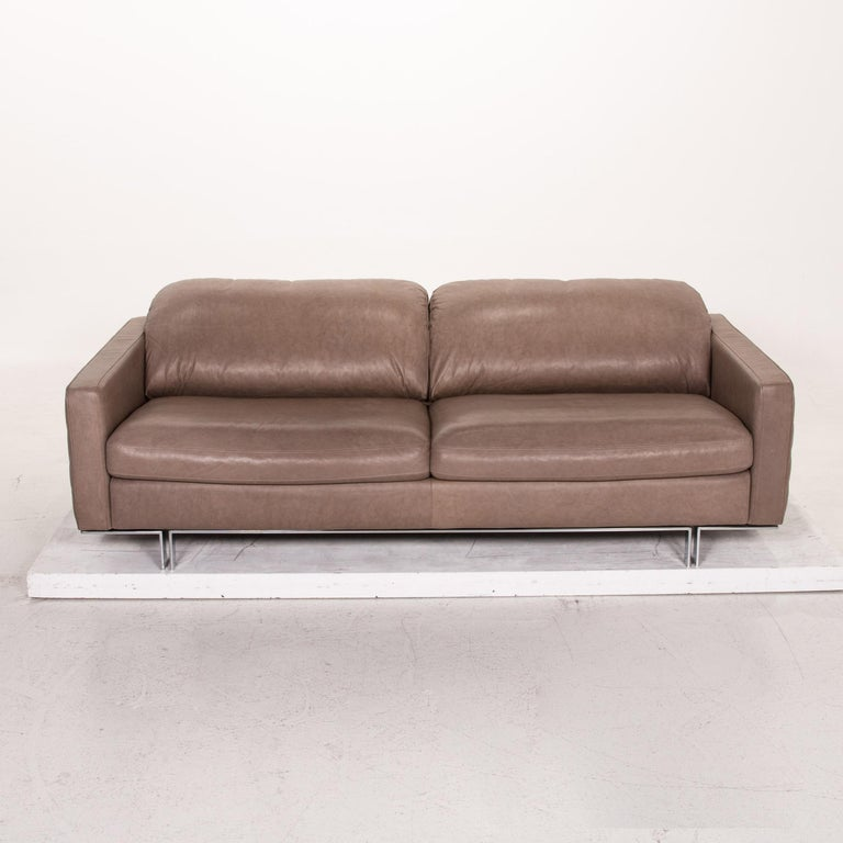 Willi Schillig Leather Sofa Gray Beige Three-Seat Couch For Sale 4