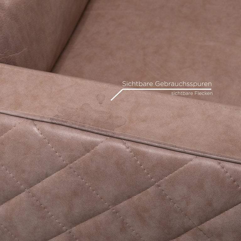 Contemporary Willi Schillig Leather Sofa Gray Beige Three-Seat Couch For Sale