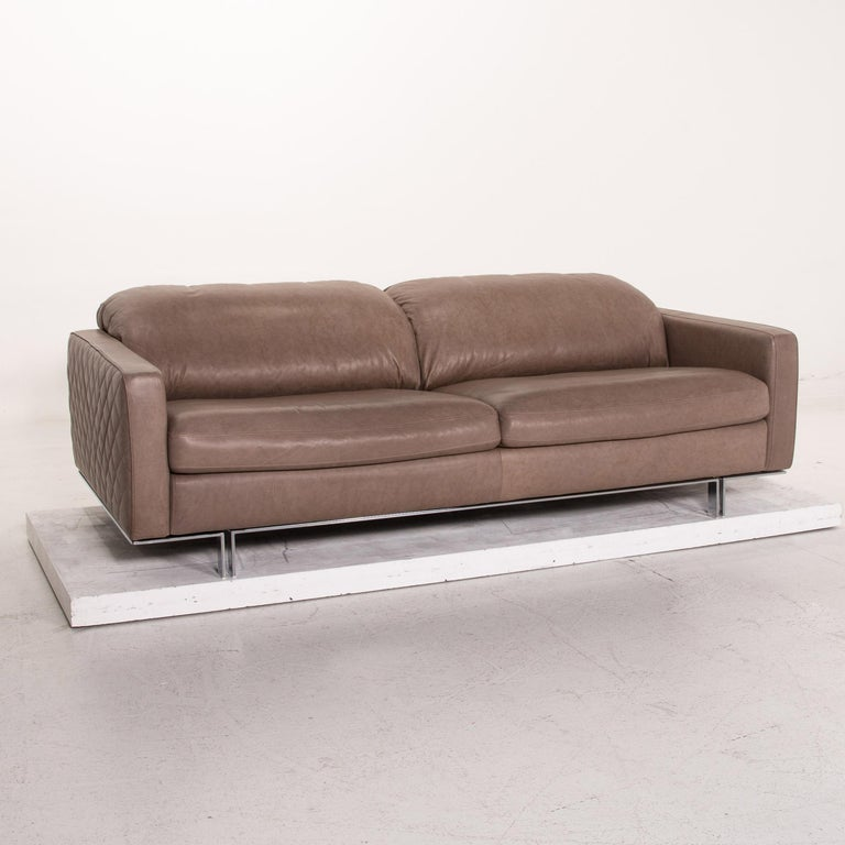 Willi Schillig Leather Sofa Gray Beige Three-Seat Couch For Sale 3