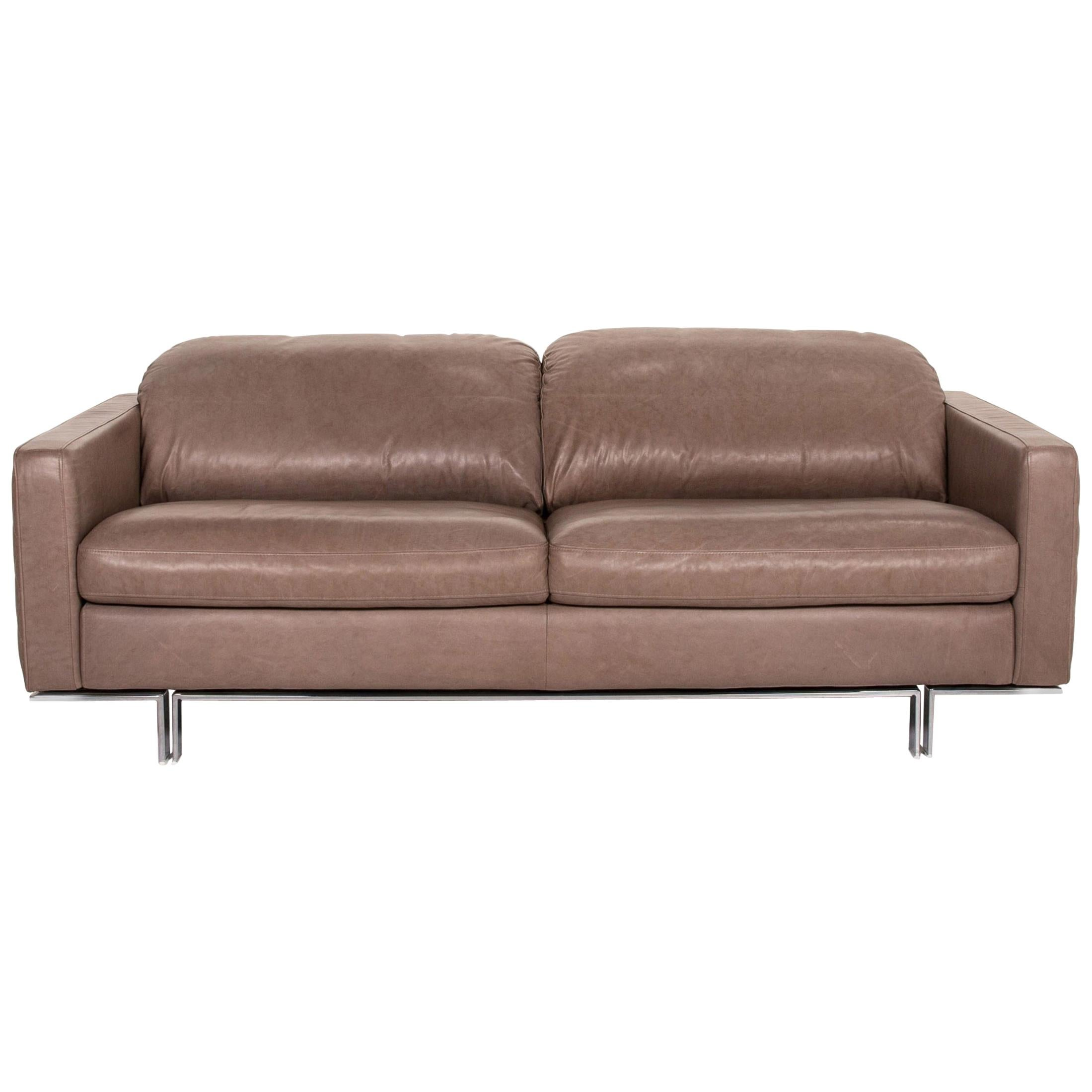 Willi Schillig Leather Sofa Gray Beige Two-Seat Couch