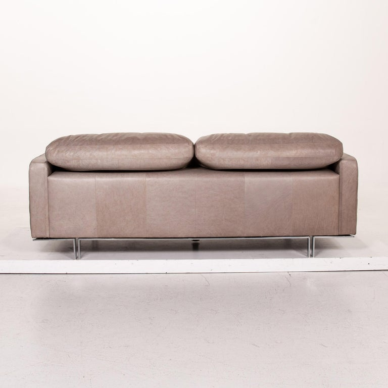 Willi Schillig Leather Sofa Gray Beige Two-Seat Couch For Sale 4