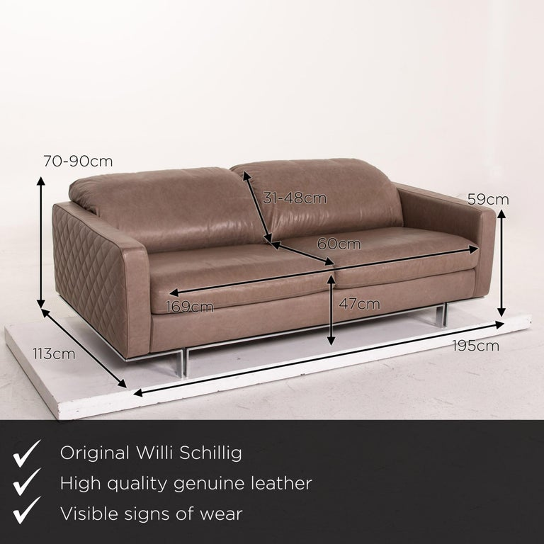 We present to you a Willi Schillig leather sofa gray beige two-seat couch.  Product measurements in centimeters:  Depth 113 Width 195 Height 70 Seat height 47 Rest height 59 Seat depth 60 Seat width 169 Back height 31.
