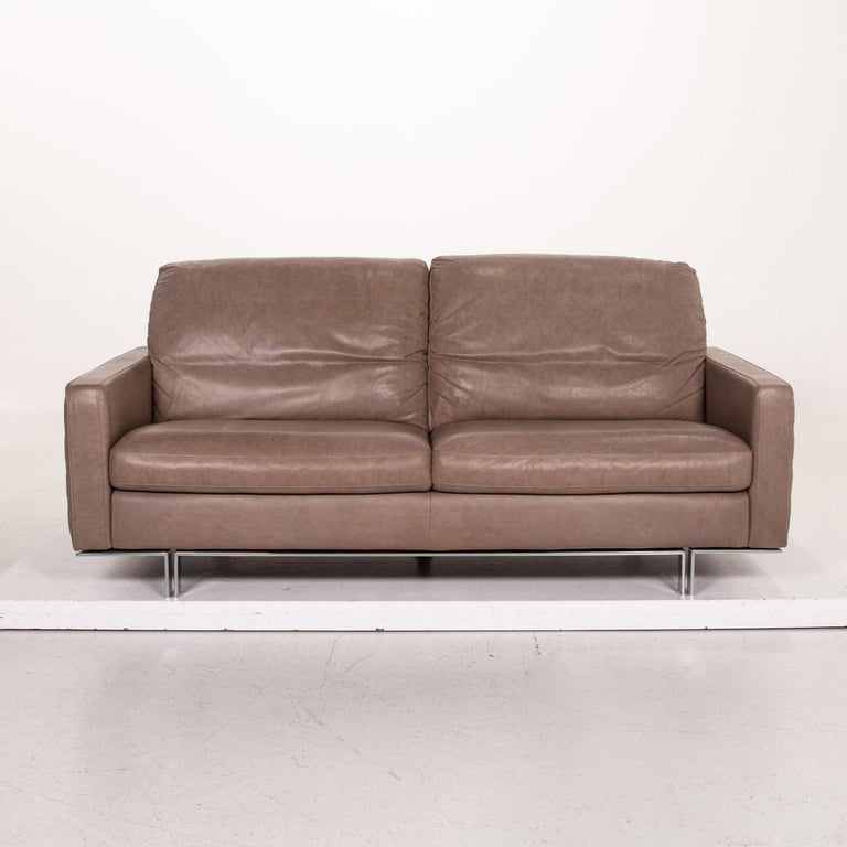 Modern Willi Schillig Leather Sofa Gray Beige Two-Seat Couch For Sale