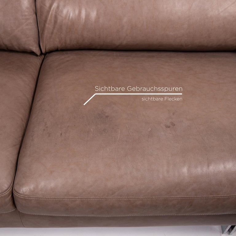 German Willi Schillig Leather Sofa Gray Beige Two-Seat Couch For Sale