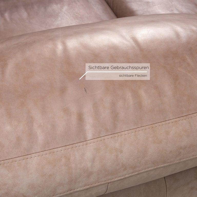 Willi Schillig Leather Sofa Gray Beige Two-Seat Couch In Fair Condition For Sale In Cologne, DE