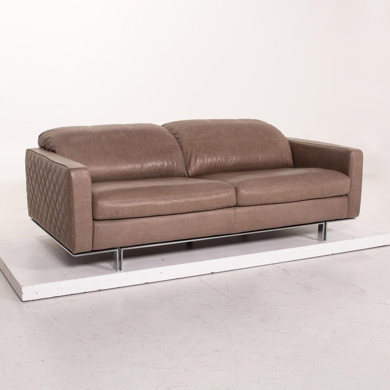 Willi Schillig Leather Sofa Gray Beige Two-Seat Couch For Sale 1