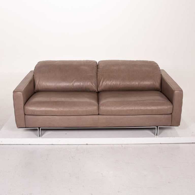 Willi Schillig Leather Sofa Gray Beige Two-Seat Couch For Sale 2