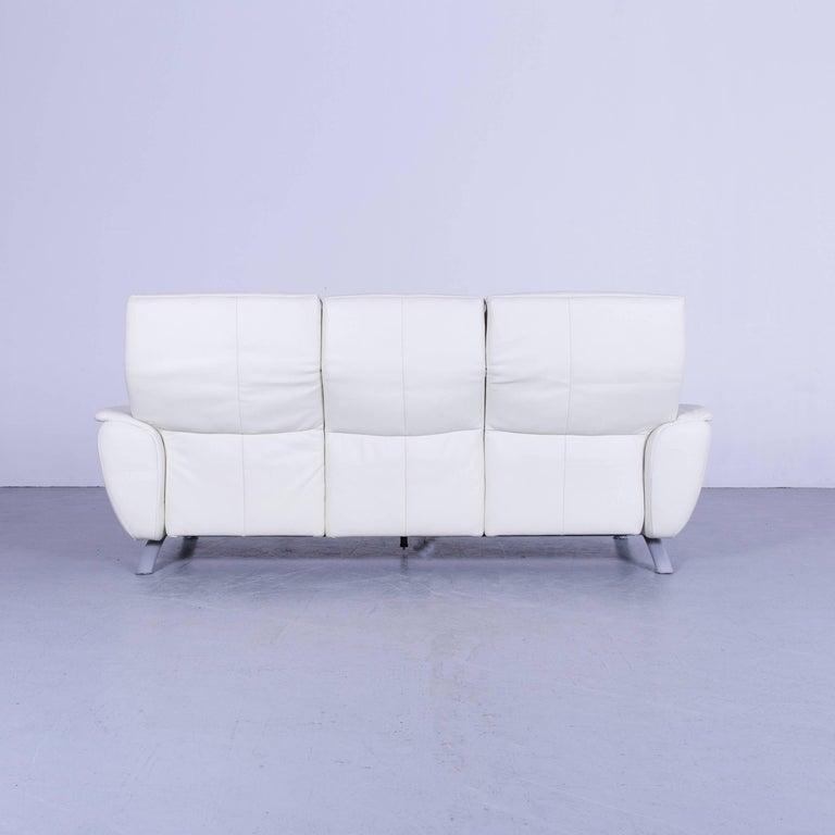 Willi Schillig Leather Sofa Off-White Three-Seat 6