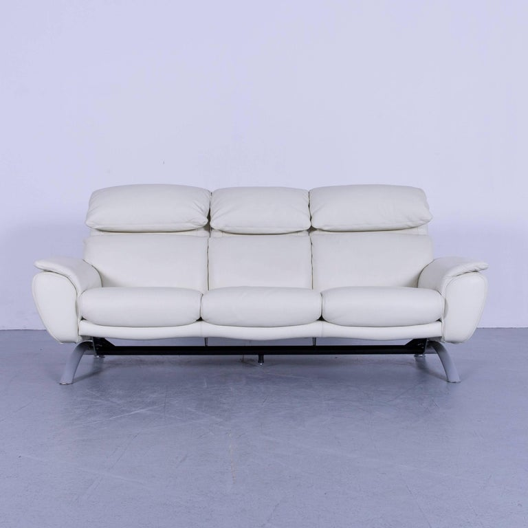 German Willi Schillig Leather Sofa Off-White Three-Seat