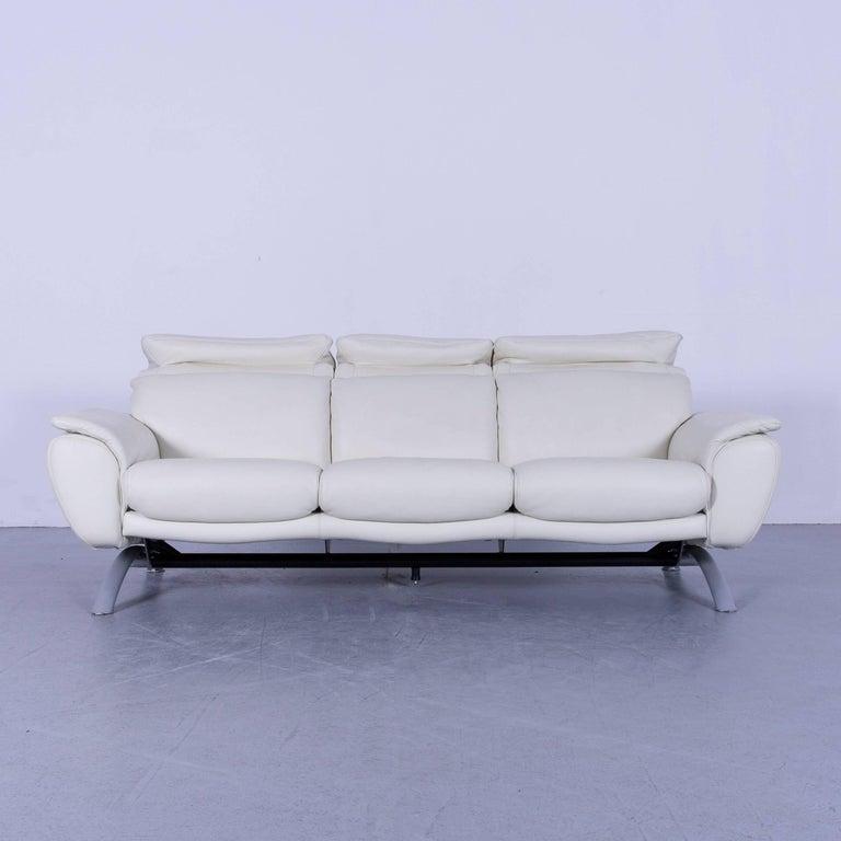 Willi Schillig Leather Sofa Off-White Three-Seat In Good Condition In Cologne, DE