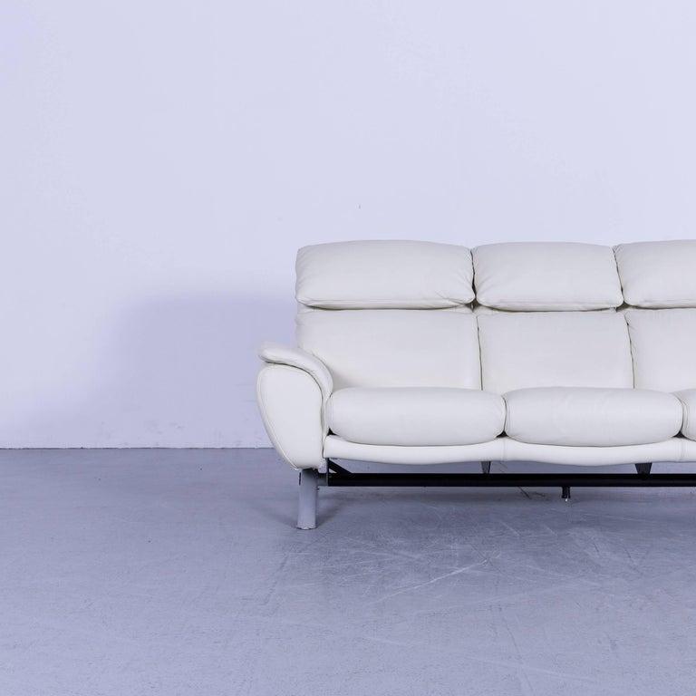 Contemporary Willi Schillig Leather Sofa Off-White Three-Seat
