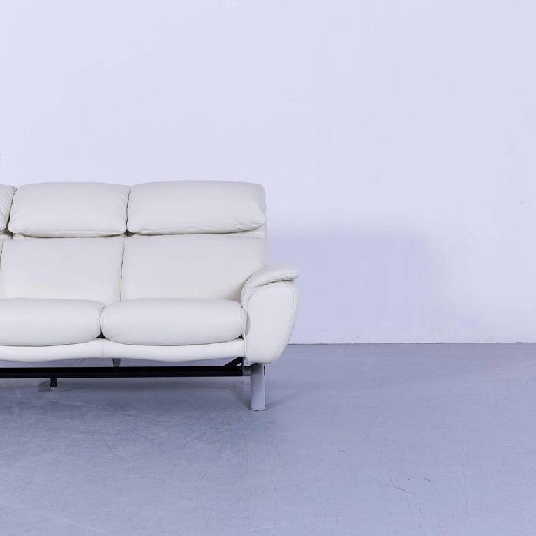 Willi Schillig Leather Sofa Off-White Three-Seat 1