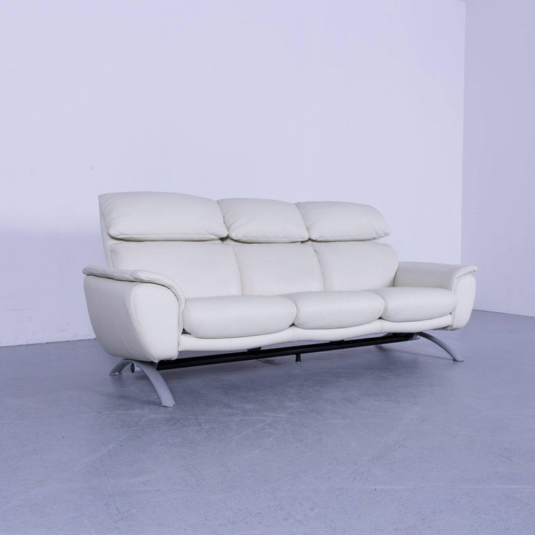 Willi Schillig Leather Sofa Off-White Three-Seat 2