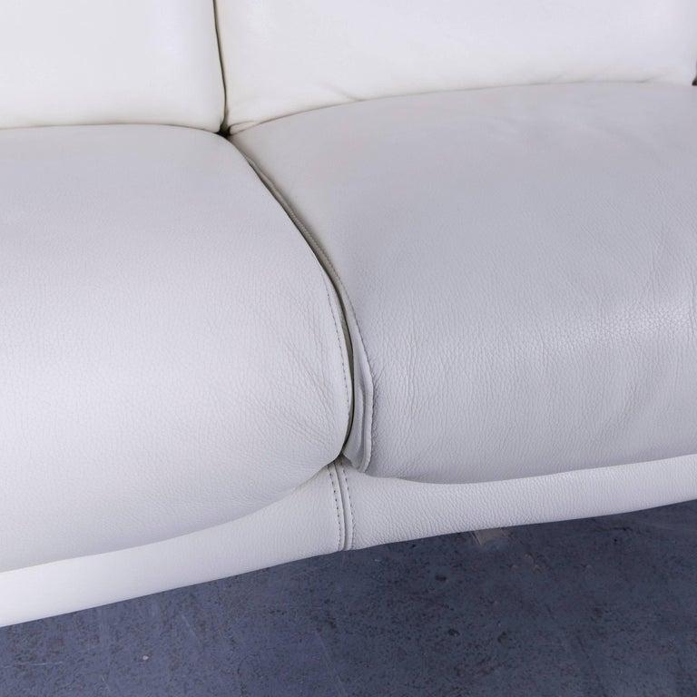 Willi Schillig Leather Sofa Off-White Three-Seat 3