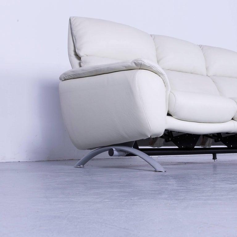 Willi Schillig Leather Sofa Off-White Three-Seat 4