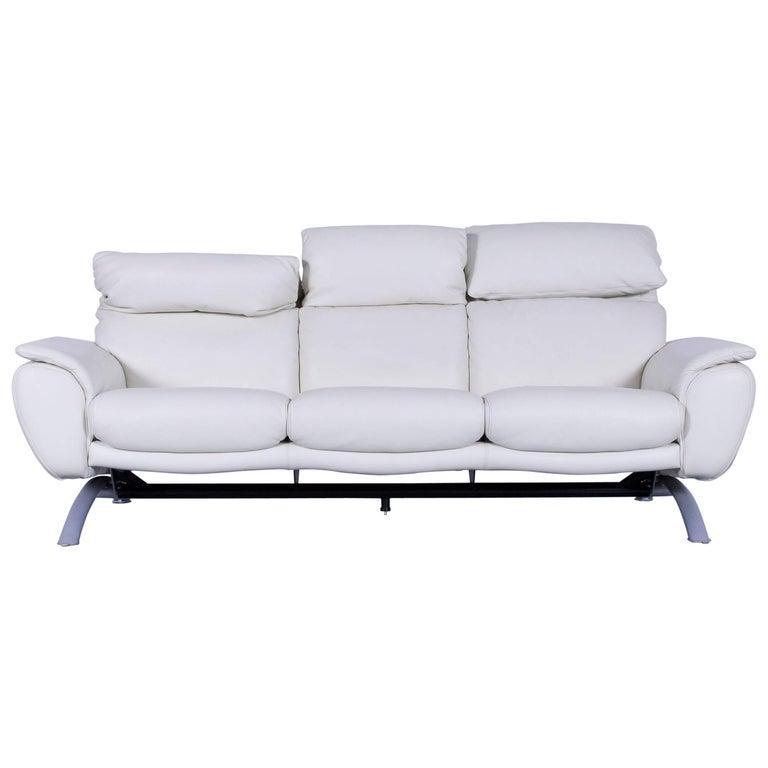 Willi Schillig Leather Sofa Off-White Three-Seat