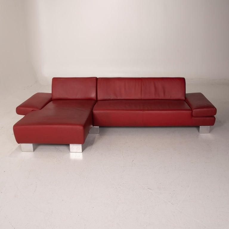 Willi Schillig Leather Sofa Red Corner Sofa For Sale 4
