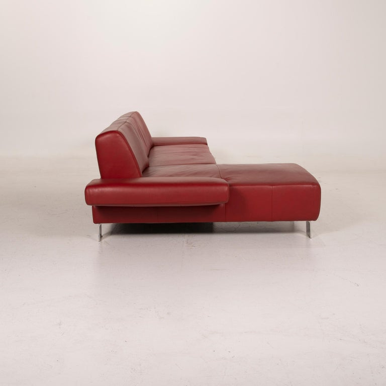 Willi Schillig Leather Sofa Red Corner Sofa For Sale 5