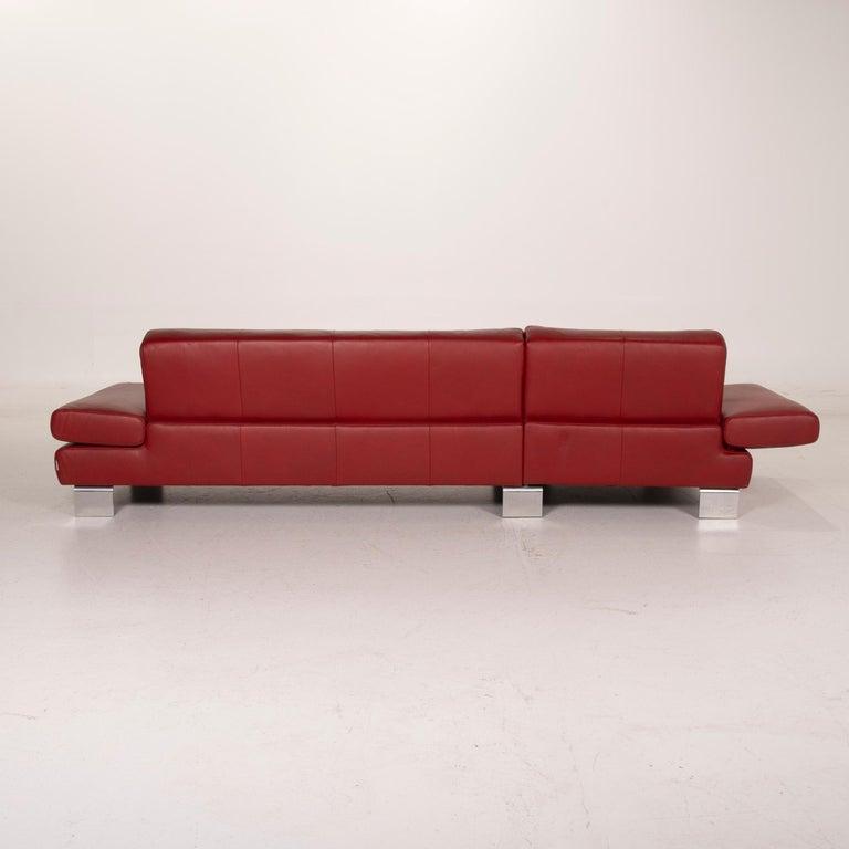 Willi Schillig Leather Sofa Red Corner Sofa For Sale 6